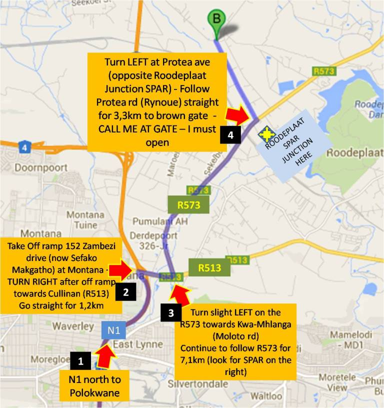 Directions to us from Jhb North
